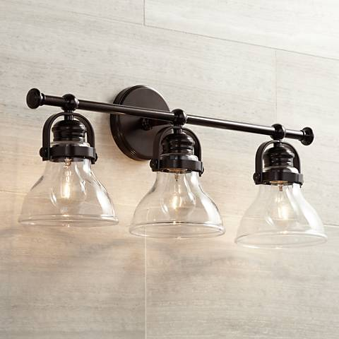 "Olsen 24"" Wide 3-Light Bronze Bath Light"