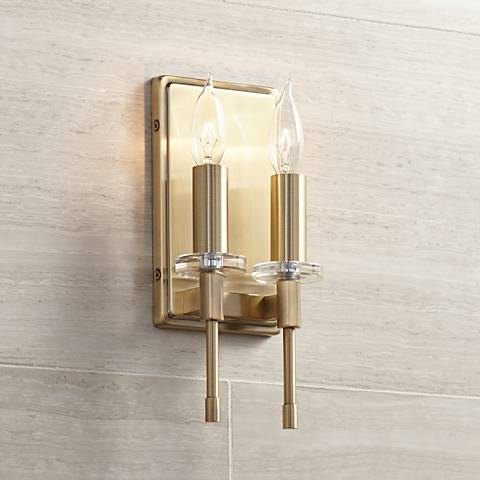 "Possini Euro Hatteras 11"" High Brass 2-Light Wall Sconce"