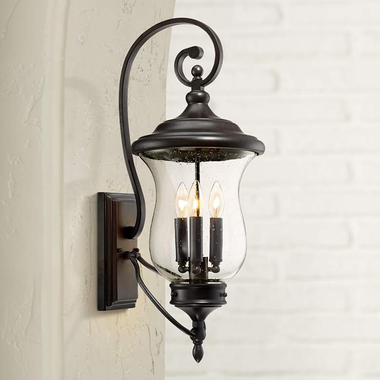 "Carriage 26 3/4"" High Bronze 3-Light LED Outdoor Wall Light"
