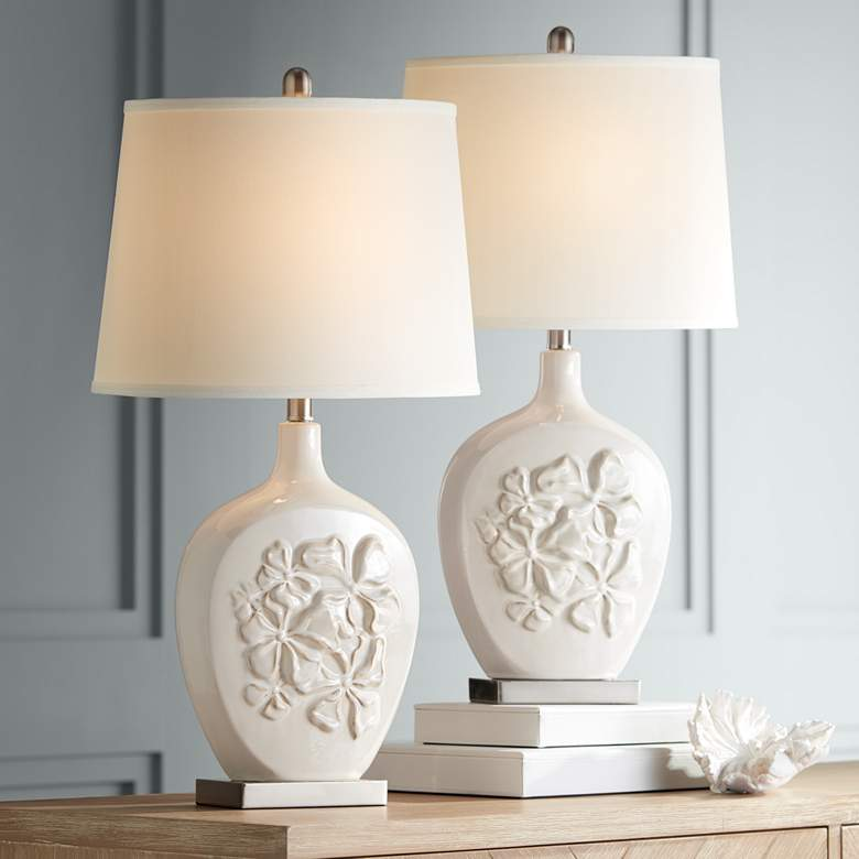 Ewan Ivory Ceramic Table Lamp Set of 2