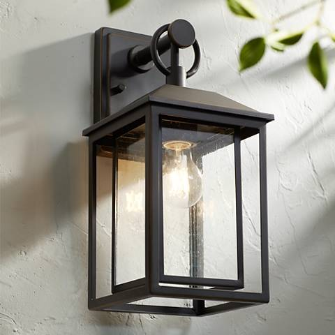 "Califa 15 1/4"" High Bronze Textured Glass Outdoor Wall Light"