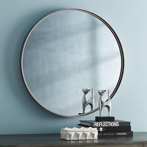 "Uttermost Sierra Antique Silver 34"" Round Wall Mirror"