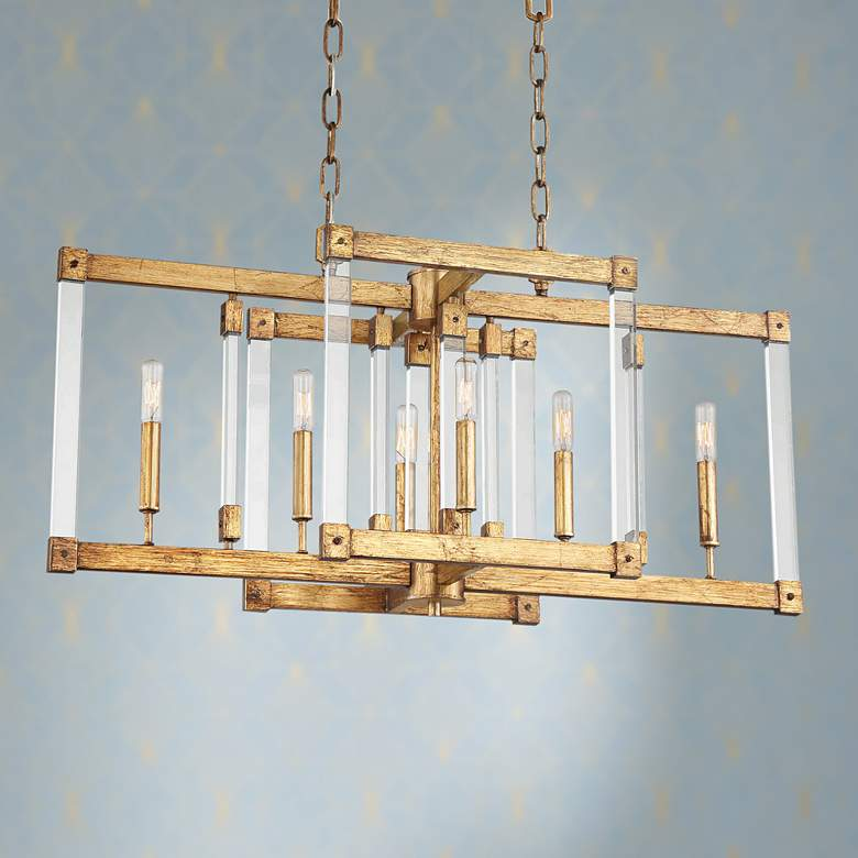 "Halcyon 34"" Wide Antiqued Gold Kitchen Island Light"