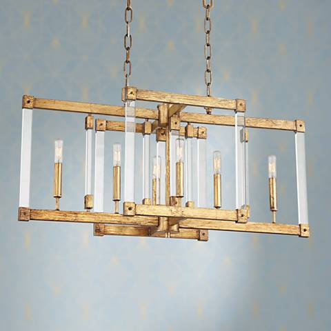 "Varaluz Halcyon 34""W Antiqued Gold 6-Light Island Pendant"