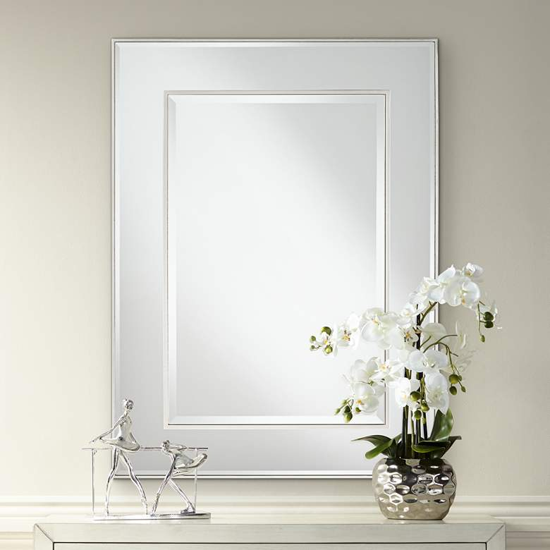 "Lane Silver Stacked Dimensional Center 30"" x 40"" Mirror"