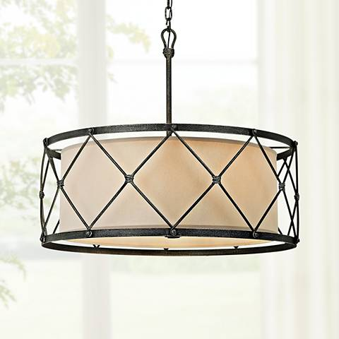 "Palisade 29"" Wide Aged Pewter Pendant Light"