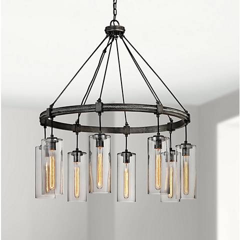 "Union Square 36"" Wide Graphite 8-Light Chandelier"