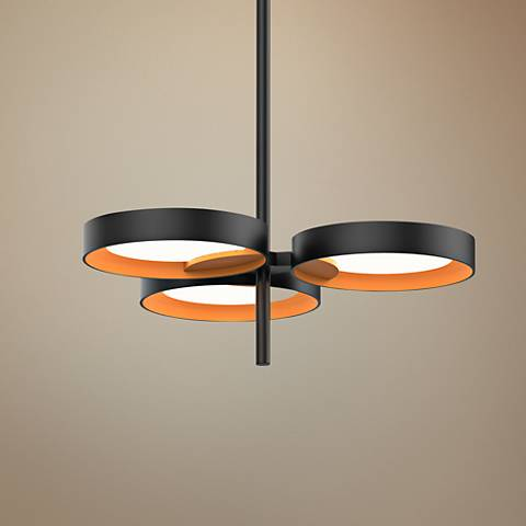 "Light Guide Ring 18 1/2""W Satin Black 3-LED Pendant Light"