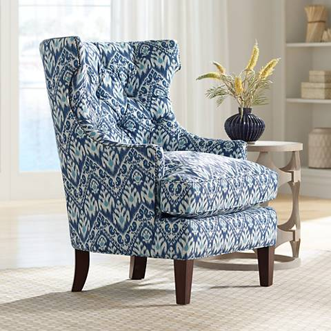 Reese Studio Capri Blue Ikat High-Back Accent Chair