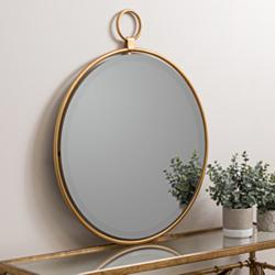 "Wright Bronzed Golden 25 1/2"" x 30 1/2"" Round Wall Mirror"