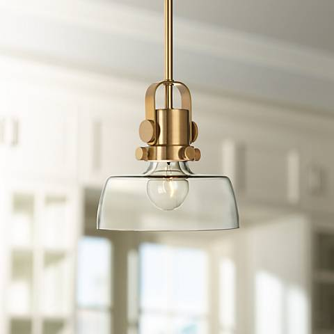 "Possini Euro 8"" Wide Antique Brass Mini Pendant"