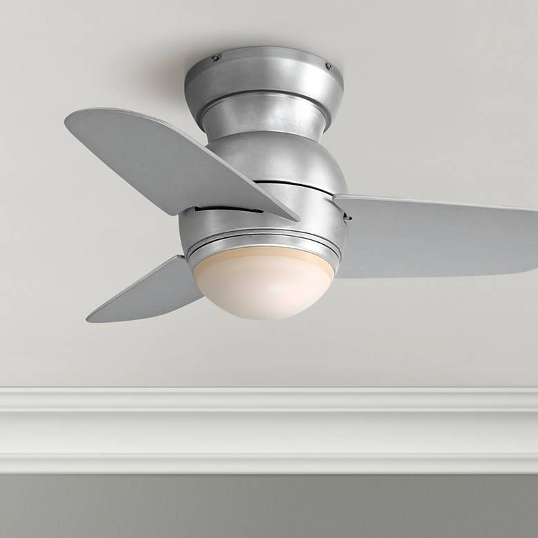 "26"" Minka Spacesaver Brushed Steel Hugger LED Ceiling Fan"