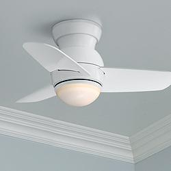 "26"" Minka Aire Spacesaver White Hugger LED Ceiling Fan"