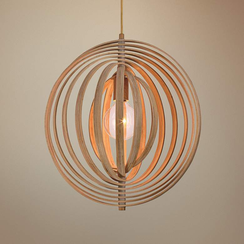 "Eurofase Abruzzo 14"" Wide Wood Pendant Light"