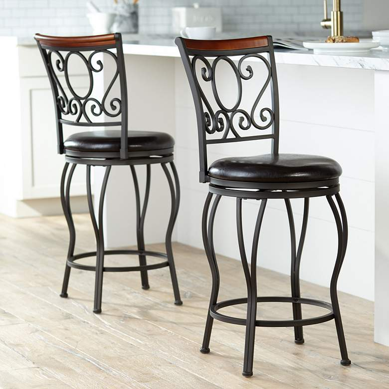 Fantastic Alberta 24 High Swivel Counter Stools Set Of 2 Andrewgaddart Wooden Chair Designs For Living Room Andrewgaddartcom