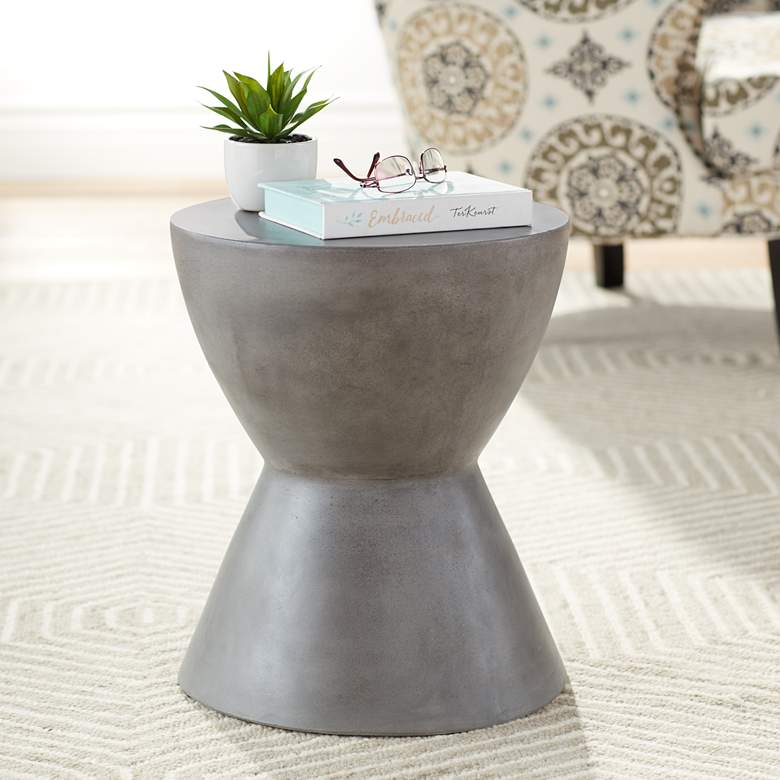 "Logan 17 3/4"" High Gray Concrete Modern End"
