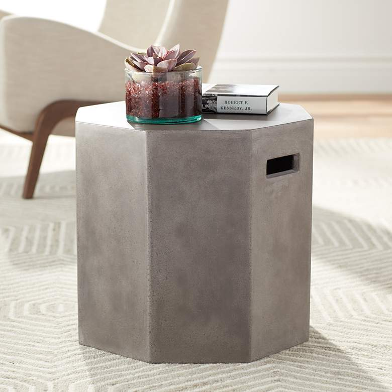 "Ollo 18"" High Gray Concrete End Table"