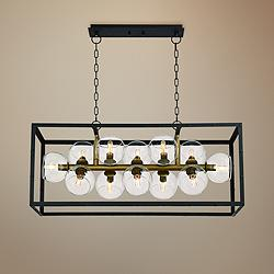 "Bentley 39 1/4""W Black and Bronze 12-Light Island Pendant"
