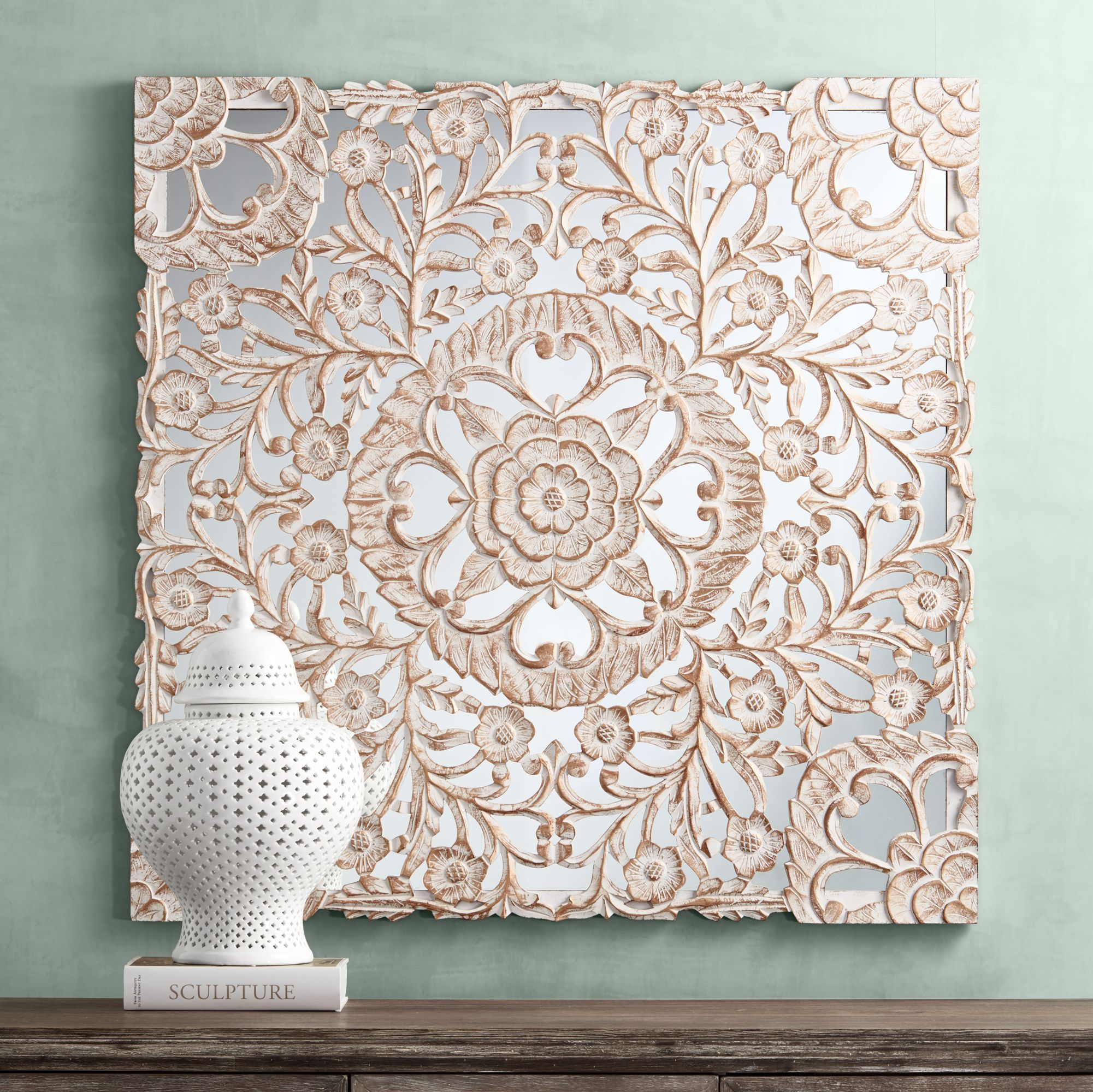 Fantasia White Patina 48 & Botanical Wall Art | Lamps Plus