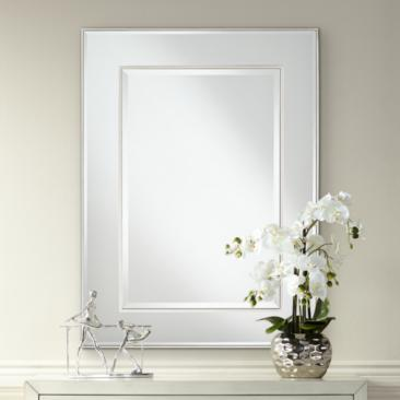 "Lane Silver 30"" x 40"" Stacked Dimensional Center Wall Mirror"