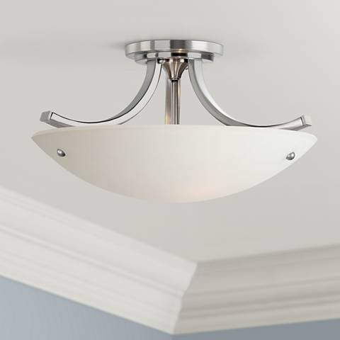 "Feiss Essential Brushed Steel 16"" Wide Ceiling Light"