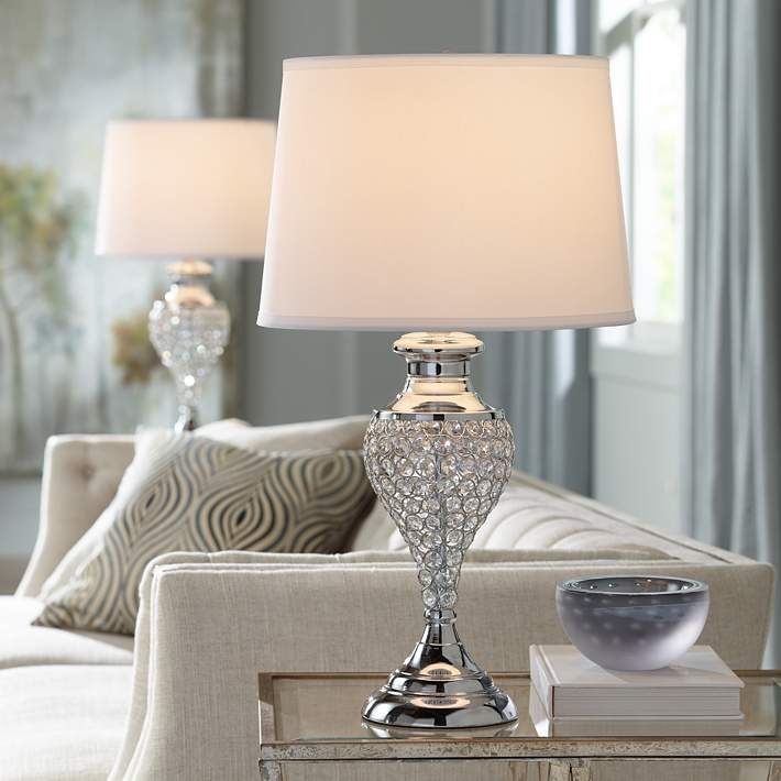 Glitz And Glam Polished Chrome Urn Table Lamps Set Of 2 35a20 Lamps Plus