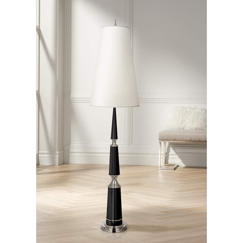 Versailles Black Lacquer Floor Lamp with Ascot Shade