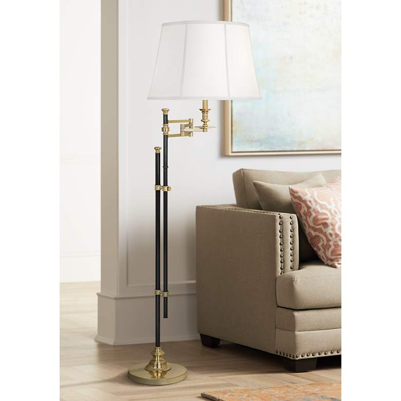 Lewis Deep Patina Bronze with Brass Swing Arm Floor Lamp
