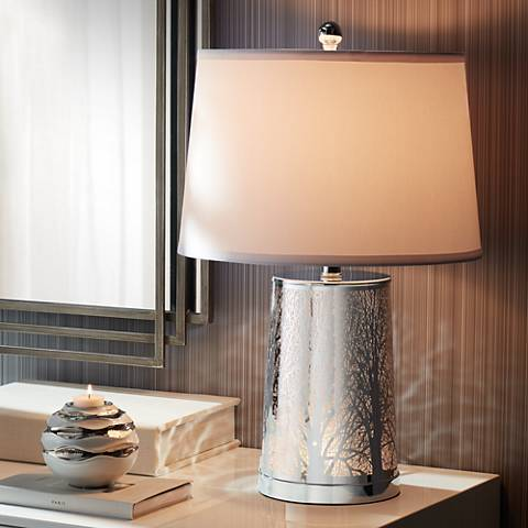 Marin Laser Cut Silver Base Table Lamp With Nightlight 35c44