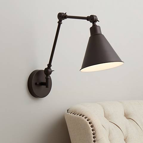 Wray Bronze Metal Hardwire Swing Arm Wall Lamp