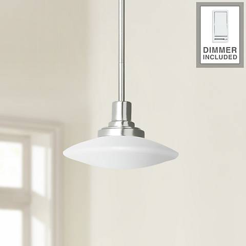 "Structures 9"" Wide Brushed Nickel Mini Pendant with Dimmer"