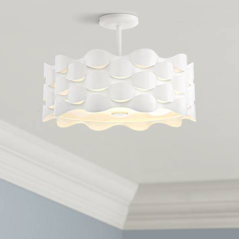 "Coastal Current 18"" Wide Sand White LED Ceiling Light"