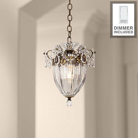 "Schonbek Bagatelle 8"" Wide Crystal Pendant Light with Dimmer"