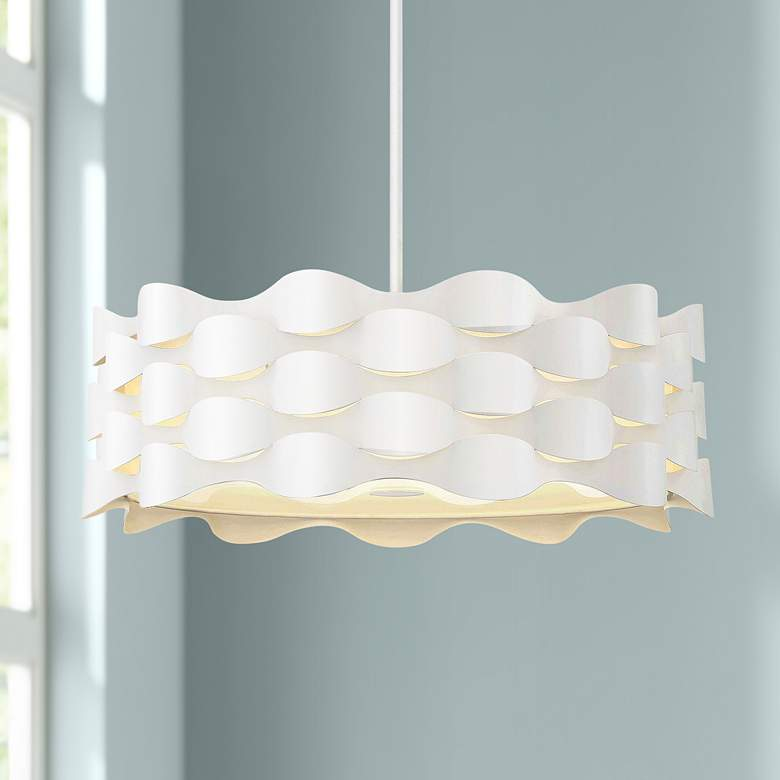 "Coastal Current 21"" Wide Sand White LED Pendant Light"