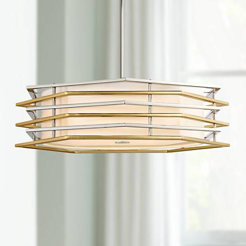 "Levels 26""W Polished Nickel and Honey Gold LED Pendant Light"