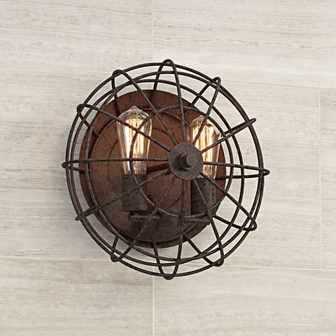 "Industrial Cage 14"" High Dark Rust 2-Light LED Wall Sconce"