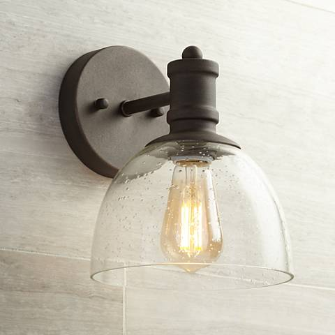 "Bleecker Industrial 9 1/4""H Bronze Wall Sconce with LED Bulb"