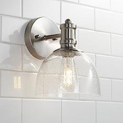 "Bleecker Industrial 9 1/4""H Brushed Nickel LED Wall Sconce"