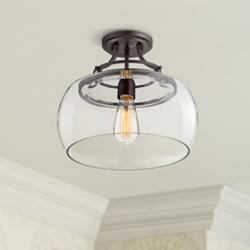 "Charleston Bronze 13 1/2"" Wide Clear Glass LED Ceiling Light"