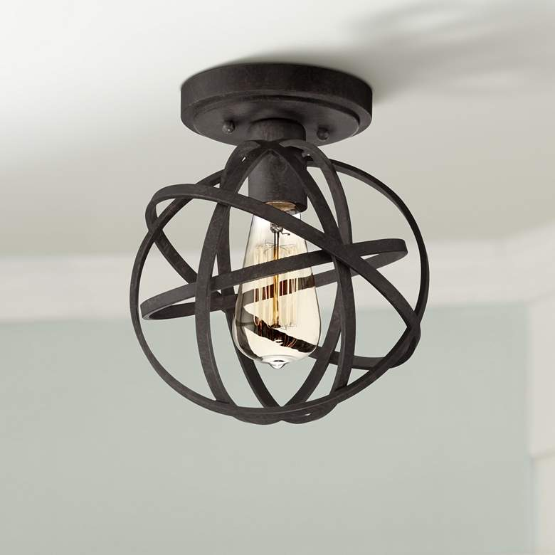 "Industrial Atom 8"" Wide Edison Black LED Ceiling Light"