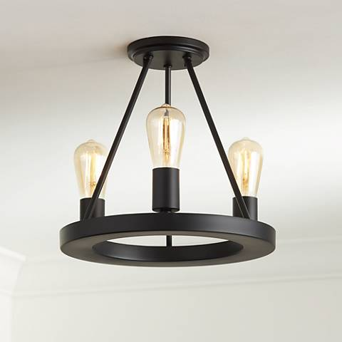 "Lacey 13""W Black 3-Light Ceiling Light w/ LED Edison Bulbs"
