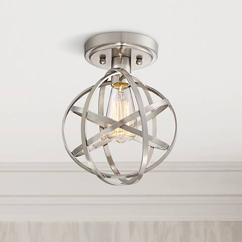 "Industrial Atom 8"" Wide Brushed Nickel LED Ceiling Light"