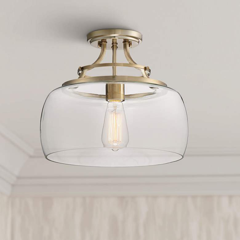 "Charleston Brass 13 1/2"" Wide Clear Glass LED Ceiling Light"