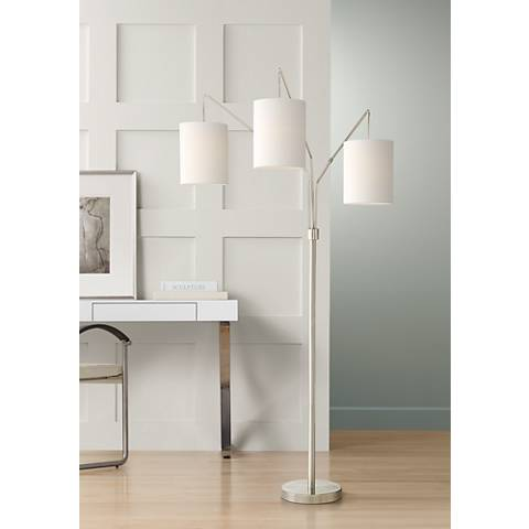 Serra Brushed Steel 3 Lights Arc Floor Lamp
