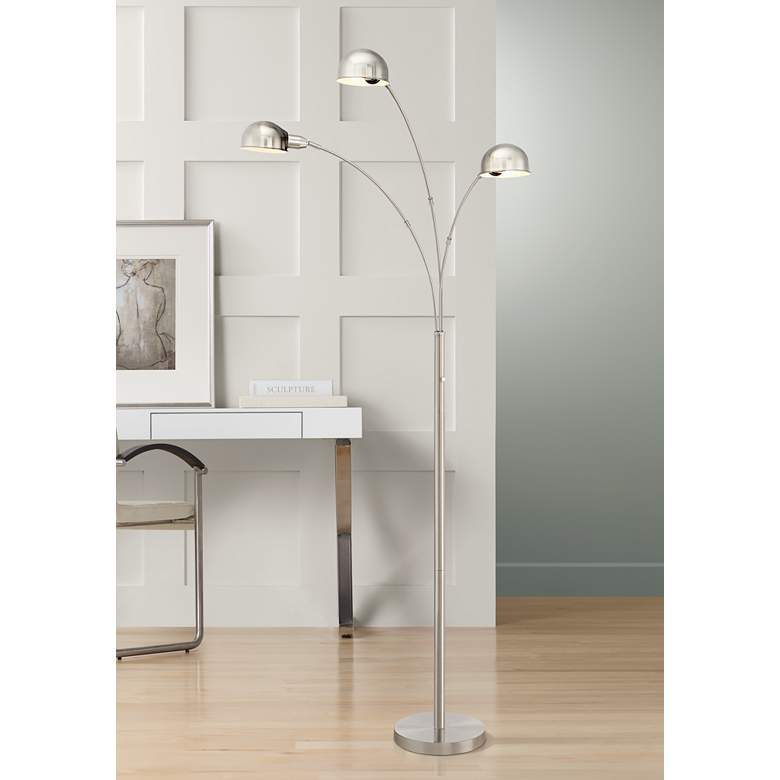 Robles Brushed Nickel 3-Light Arc Floor Lamp