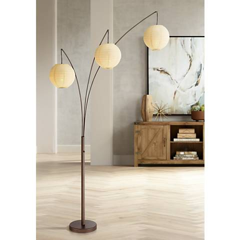 Jojo Bronze Arc Floor Lamp with 3 Paper Lantern Shades