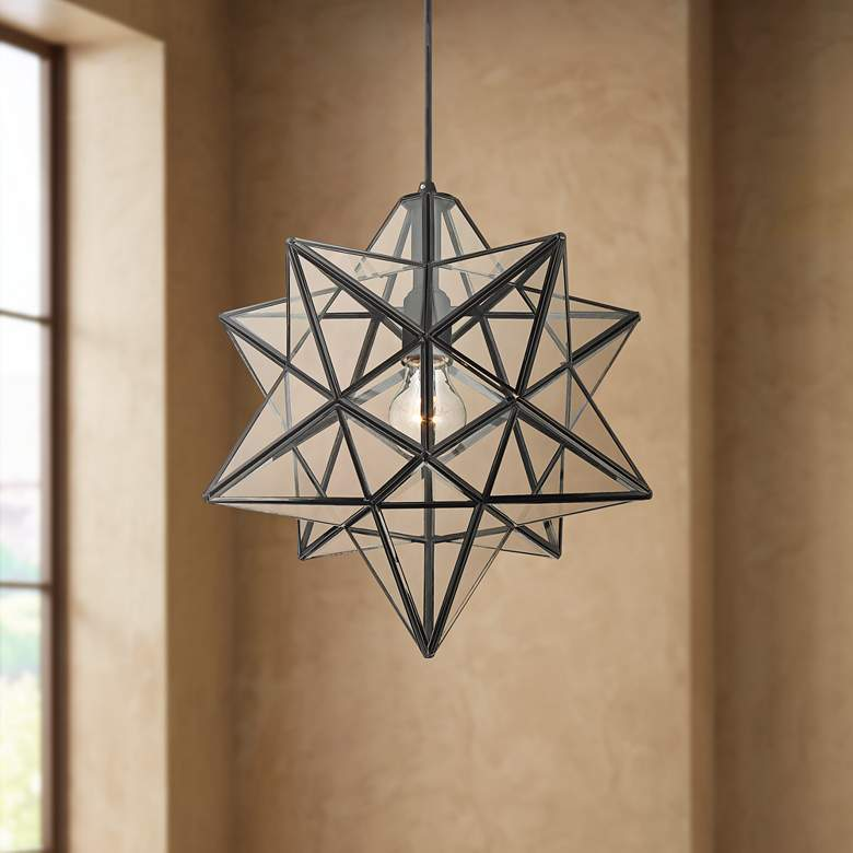 "Cuthbert 15""W Black and Clear Glass Star Pendant Light"