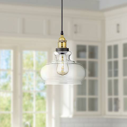 "Possini Euro Gorton 9 1/2"" Wide Black LED Mini Pendant"