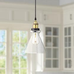 "Possini Euro Poulsbo 8"" Wide Black LED Mini Pendant"