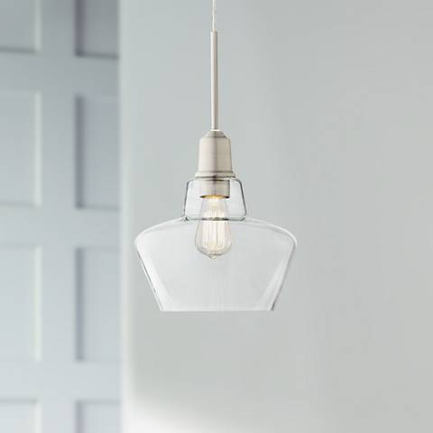 "Madoc 9 1/2"" Wide Nickel and Clear Glass LED Mini Pendant"